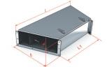 Короба кабельные блочные угловые плоские ККБ одноканальные, двухканальные, трехканальные горизонтальный поворот трассы на угол 45 S=1,5мм.